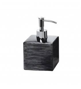 Dispenser sapone nero con righe argento - serie cube Aquasanit QB7120NE