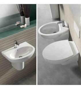 Set sanitari sospesi con lavabo 60 cm con semicolonna serie day by day Idrobric SetDayByDaysospeso