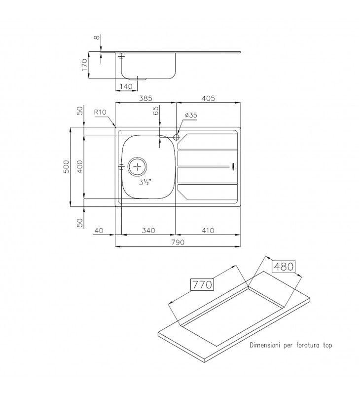 Lavello inox 1v sxsc. 79x50 inc. Foster SPA U81020SX1