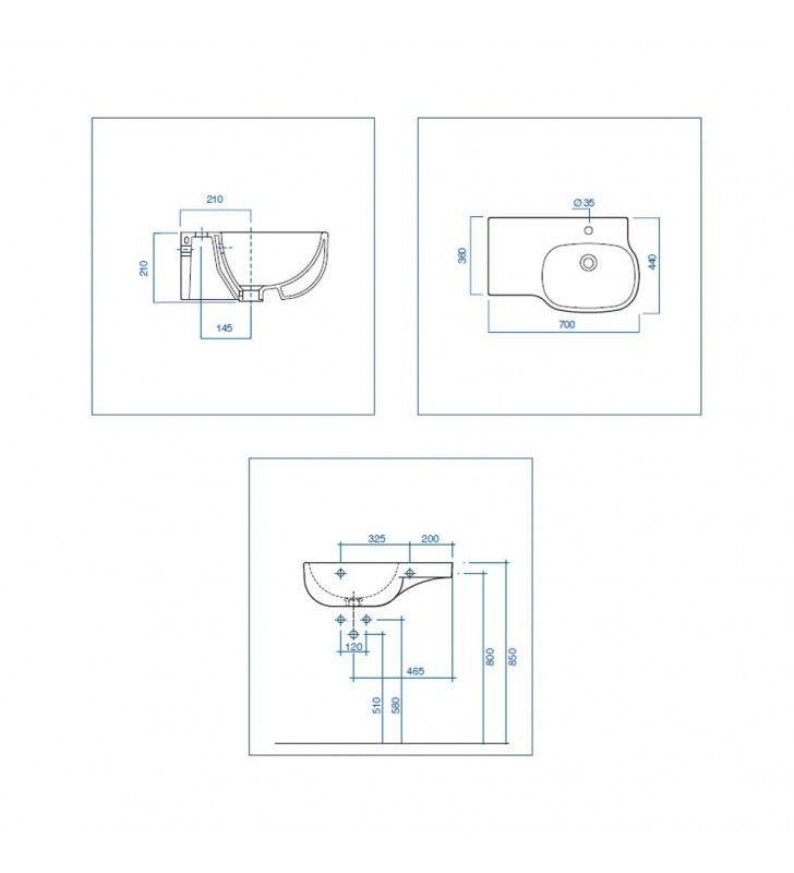 Lavabo destra - serie 500 Pozzi Ginori U82411DX
