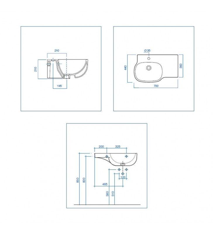 Lavabo sinistra - serie 500 Pozzi Ginori U82411SX