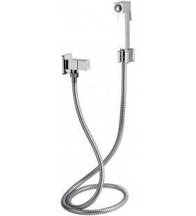 Set doccetta bidet relax sq con doccia quadrata, flessibile, rubinetto e supporto lux Remer 332RES