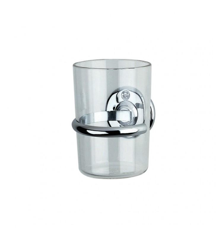 Porta bicchiere trasparente con base cromata - serie varese Aquasanit A85100CR024