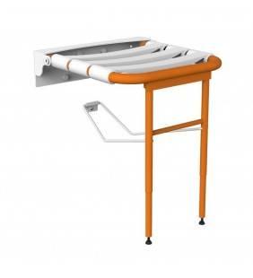 Sedile per doccia ribaltabile con rinforzo a terra, arancio Goman LEO-X816/65
