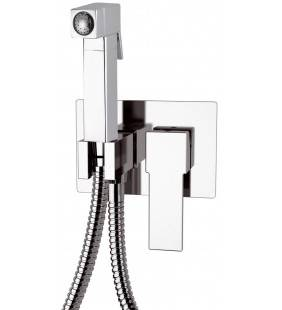 Miscelatore incasso per shut-off con doccetta shut-off , supporto doccia-presa acqua e flessibile doccia. Remer Q60