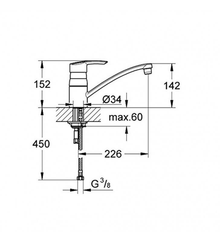 Miscelatore lavello,serie start grohe, cromato - 32441000 Grohe SCARUB0024CR