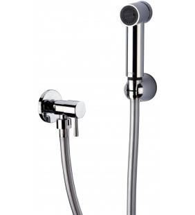 Set doccetta bidet eurolux con doccia a pulsante minimale, flessibile, rubinetto e supporto cromato Remer 332EURM