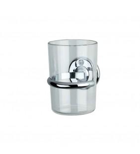Porta bicchiere satinato con base bianca - Serie Varese