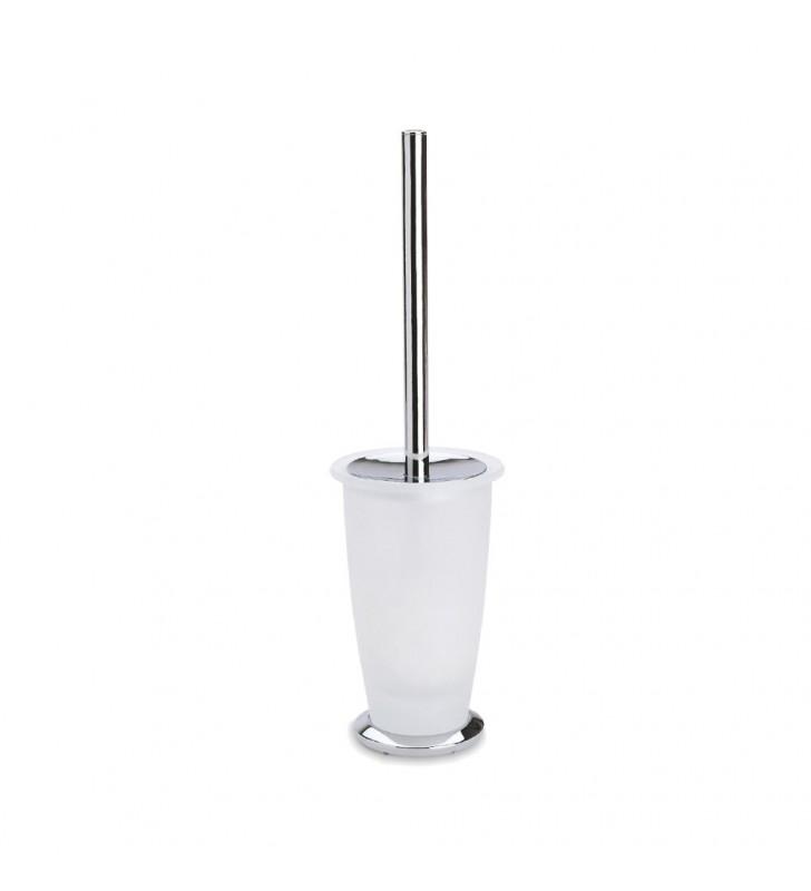 Porta scopino da appoggio stile con bacinella in vetro sabbiato e finitura cromata