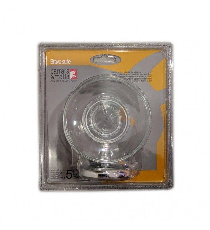 Porta sapone serie bravo suite con bacinella in vetro trasparente finitura cromata