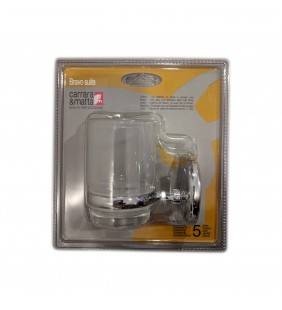 Porta bicchiere serie bravo suite con bicchiere in vetro trasparente finitura cromata Carrara e Matta 502422