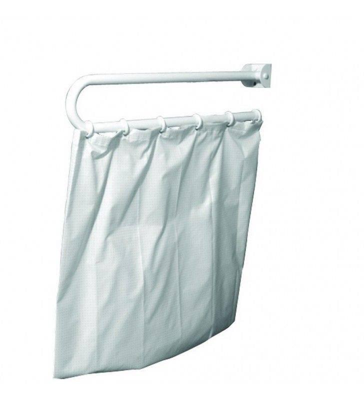 Maniglione ribaltabile reggitenda per doccia in inox bianco di cm 90 Goman XB11/01