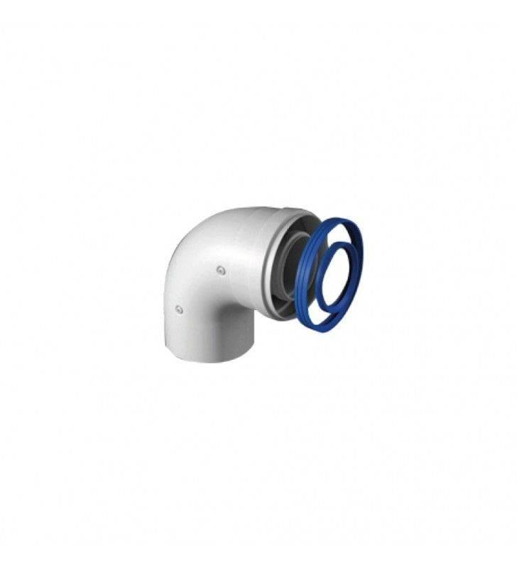 Curva 90 gradi coassiale maschio-femmina di d60-100 mm in acciaio e alluminio Idrobric SCACAL0187CU