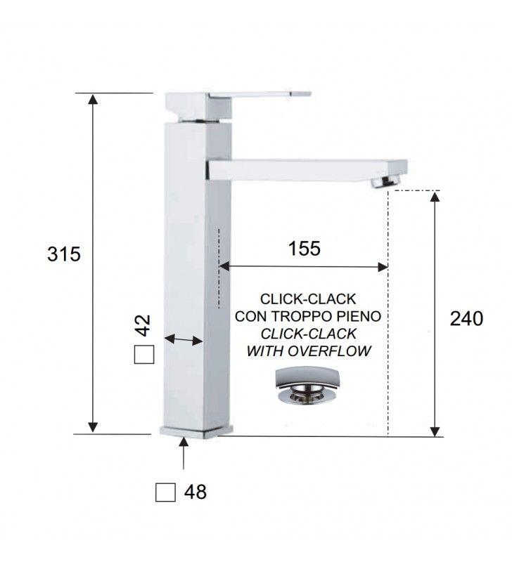 Rubinetto lavabo alto qubika con piletta click clack Remer Q10L