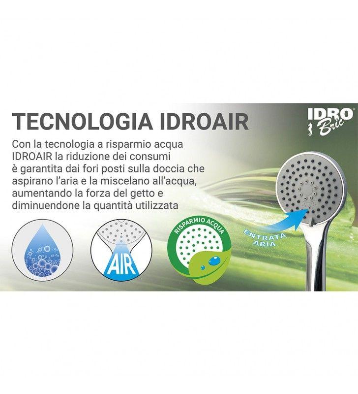Doccino serie circe 2 getti finitura acciaio con risparmio acqua Idrobric BLIDOC0168AC