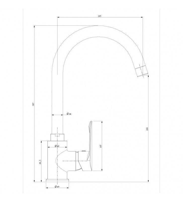 Miscelatore lavello a bocca alta serie one, finitura cromata Idrobric SCARUB0874CR