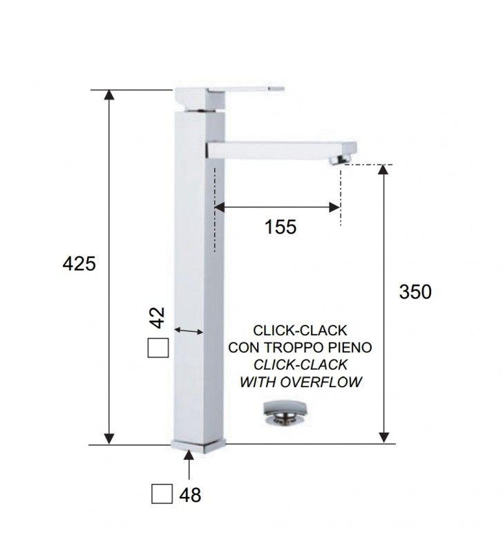 Miscelatore moderno qubika quadrato con bocca lunga per lavabi a bacinella Remer Q1XLXL