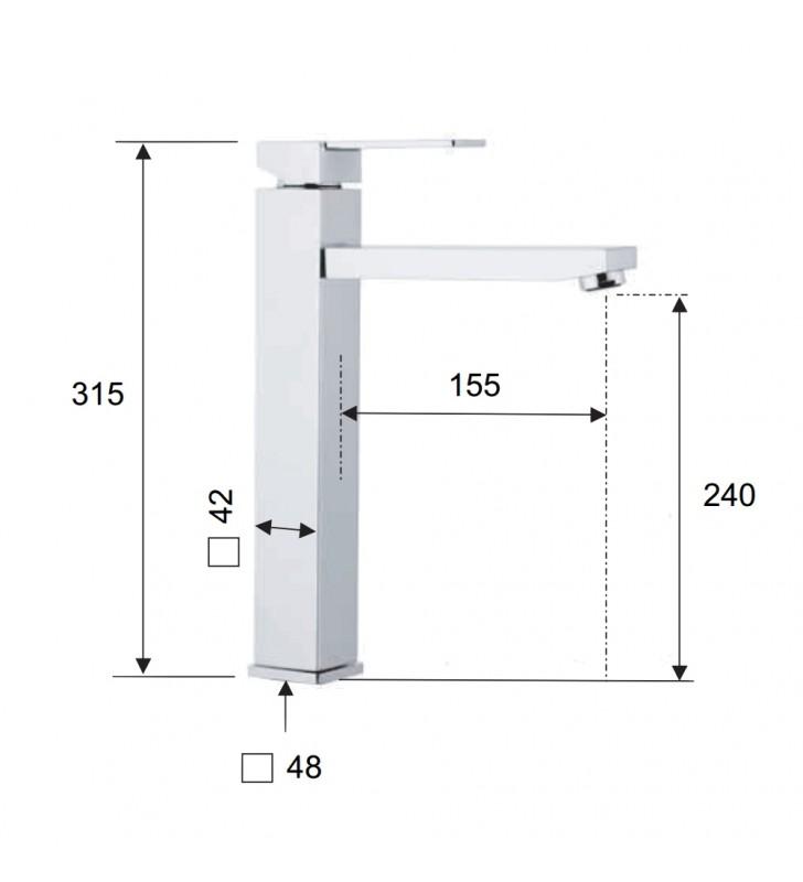 Qubika monocomando lavabo alto cromato senza scarico Remer Q11L
