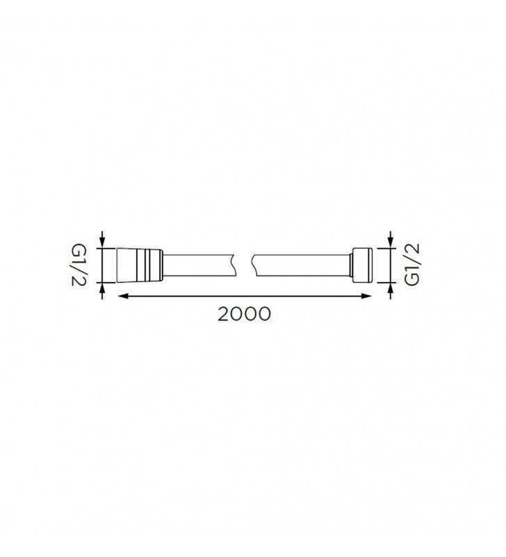 Flessibile doccia in plastica rinforzata cromato di 200 cm Idrobric C0398200CR