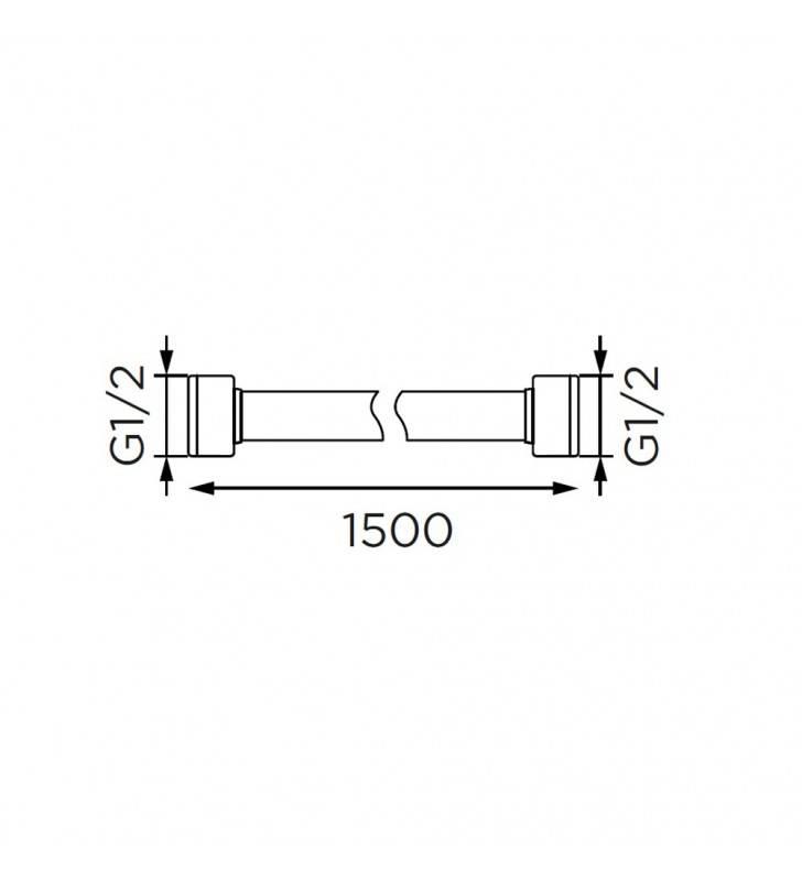 Flessibile doccia da 150 cm in acciaio, cromato Idrobric H0235150