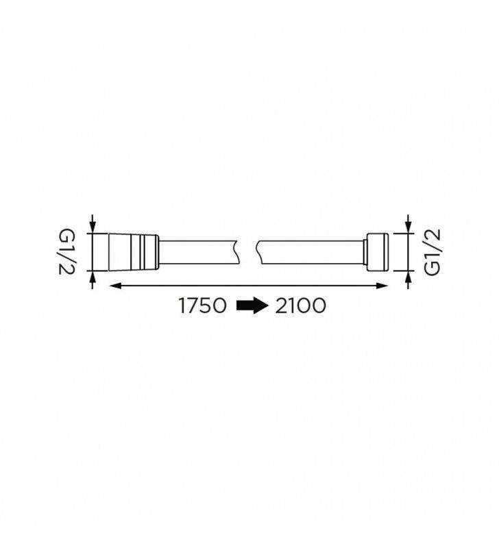 Flessibile doccia in acciaio, cromato, allungabile da 175-200 cm Idrobric H0236175