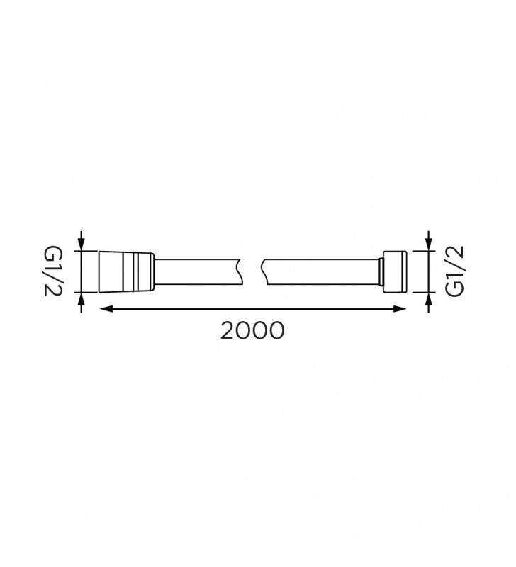 Flessibile da 200 cm in acciaio cromato, doppia aggraffatura Idrobric BLIFLE0025CR