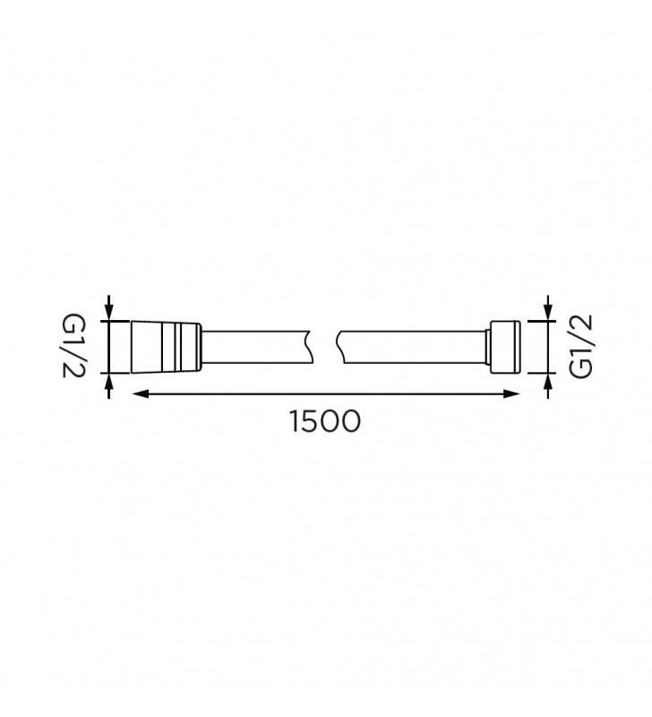 Flessibile doccia da 150 cm cromato-bianco in plastica rinforzata Idrobric H0239150BI