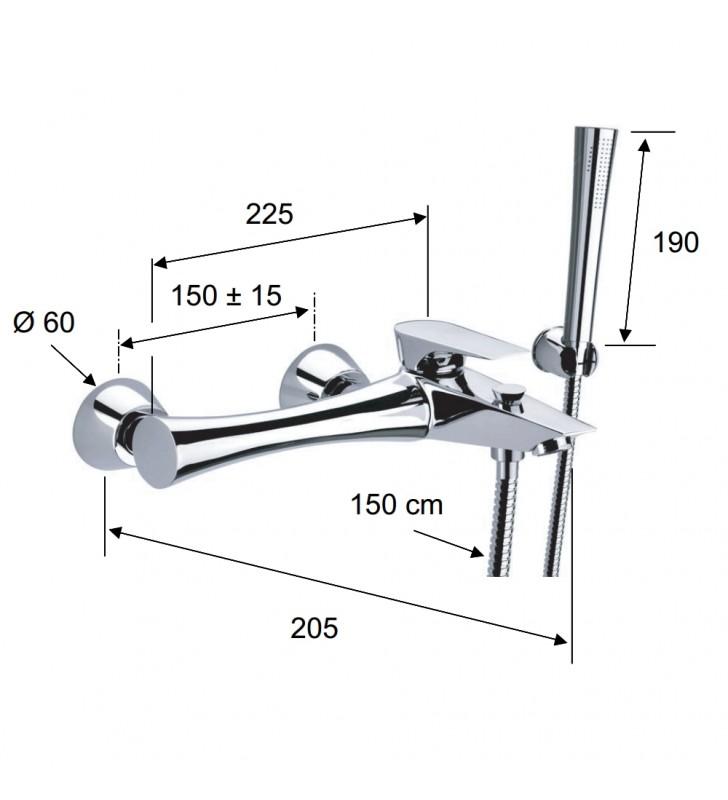 Rubinetto vasca duplex esterno con flessibile, supporto e doccetta - serie diva Daniel Rubinetterie DV610CR