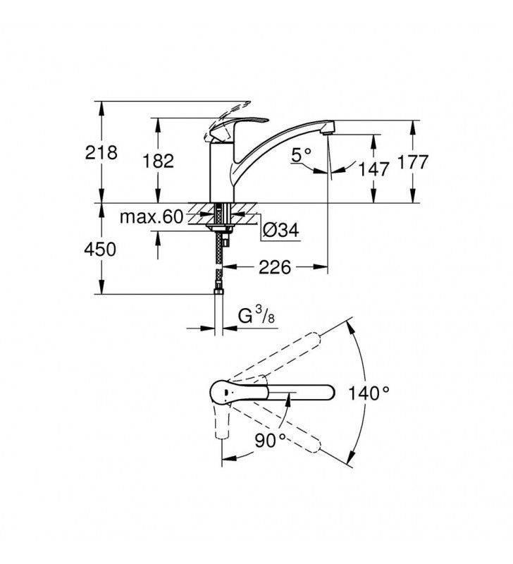Miscelatore grohe serie eurosmart new, per lavello bocca girevole, cromato Grohe SCARUB0744CR
