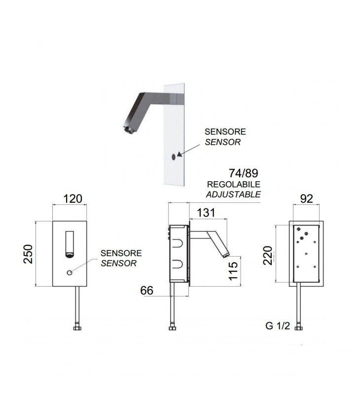 Sensor - rubinetto lavabo con sensore a incasso Remer SE28