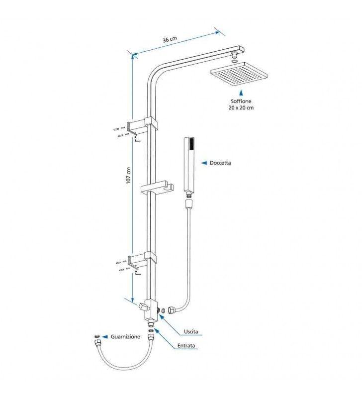 Colonna doccia quadra (MM1) Idrobric SCACOL0027CR