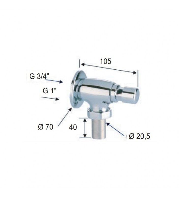Flussometro temporizzato a pulsante esterno per wc 3/4 Remer TE17034