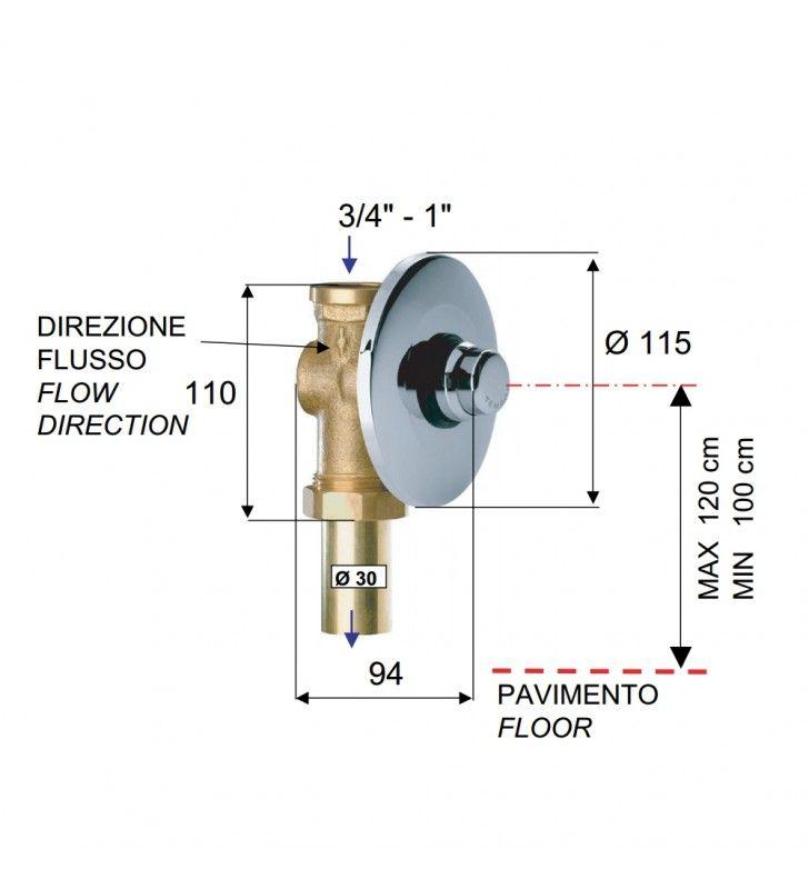 Flussometro temporizzato a incasso a pulsante per wc - serie tempor Remer TE171
