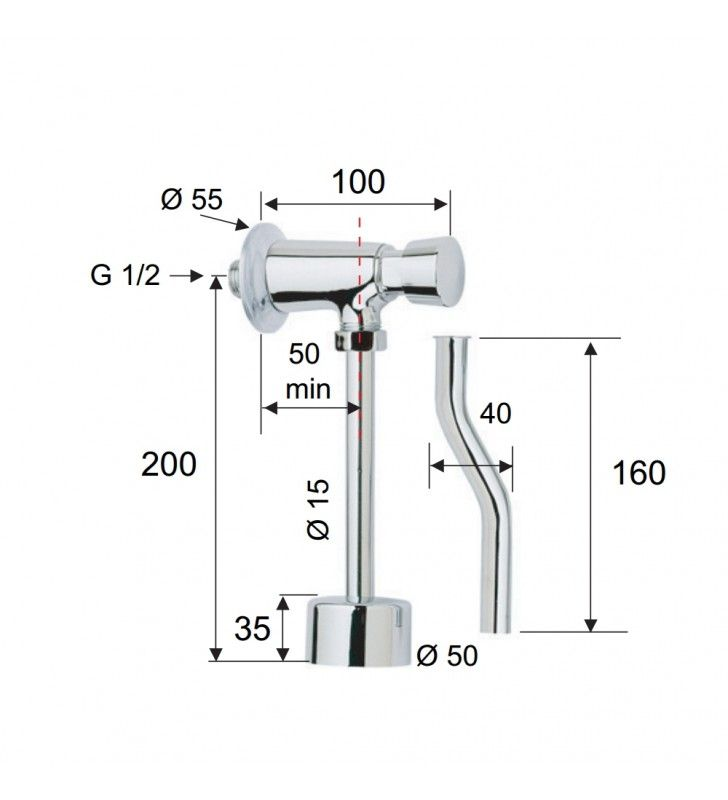 Rubinetto temporizzato a pulsante per orinatoio - serie tempor Remer TE855