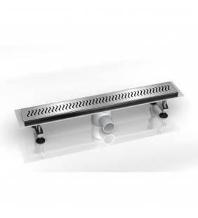 Canalina di scarico 80x9 con griglia effetto curve removibile in acciaio INOXCurve