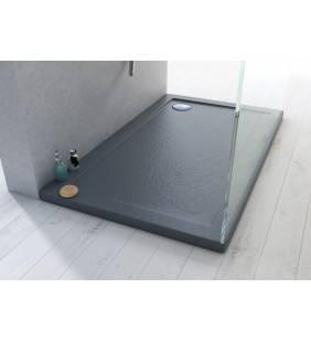 Piatto doccia 70x120 acrilico ultra slim effetto pietra color grigio scuro Idroclic ICPTR147