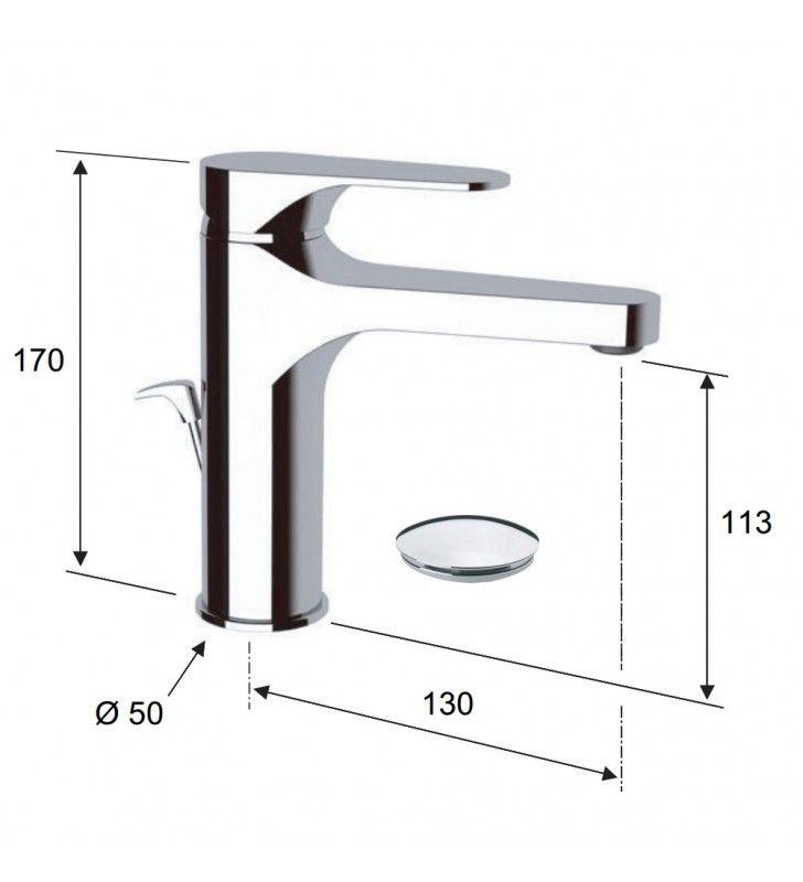 Miscelatore lavabo cromato remer con o senza scarico in ottone class line Remer L1XL