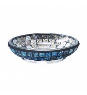 Porta sapone serie crystal in vetro mosaico blu Aquasanit QF9110BL