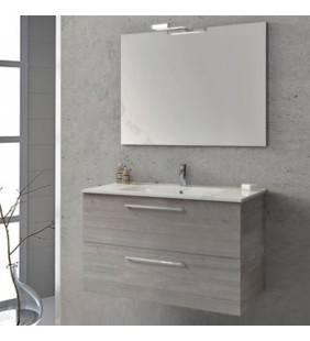 Composizione sospesa easy 100 cm grigio sabbiato completa di specchio e applique ROYO SCAMOB0047CP