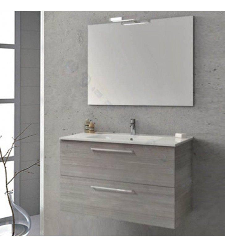 Composizione sospesa easy 80cm grigio sabbiato completa di specchio e applique ROYO SCAMOB0046CP