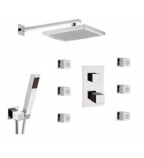 Set doccia con rubinetto e deviatore 3 vie e 7 posizioni - serie skyline thermo Daniel Rubinetterie SKT616ZCR