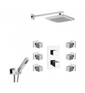 Oxy thermo set doccia con soffione, doccetta, supporto e rubinetto design minimale ed elegante Daniel Rubinetterie OXT23616ZCR