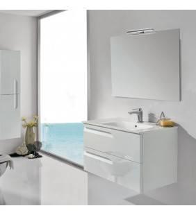 Composizione sospesa vitale 80 cm bianco lucido completa di specchio e applique