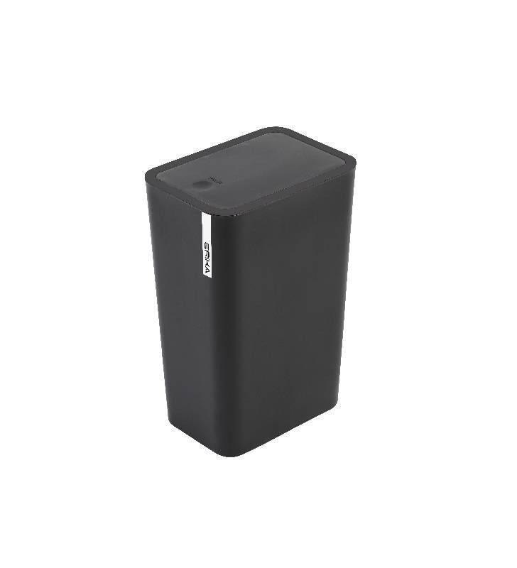 Pattumiera bagno nera con coperchio push 8 lt, serie erika Feridras 012008