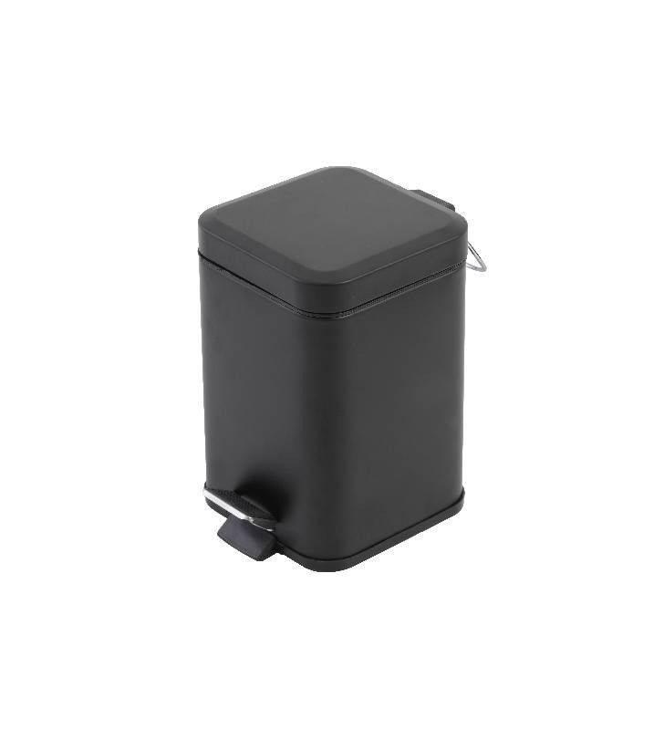 Pattumiera da bagno quadrata 3l color nero Feridras 151060