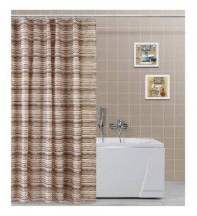 Tenda per doccia 180x200 trama linee marroni in poliestere Feridras 187073