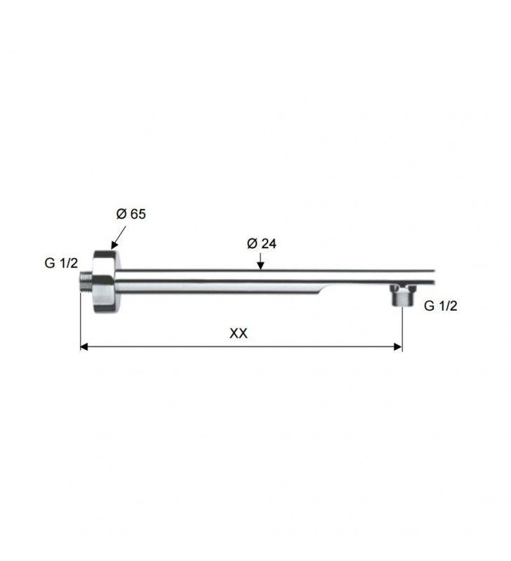 Braccio doccia minimal in ottone cromato 50 cm (MM1) Remer 348N50