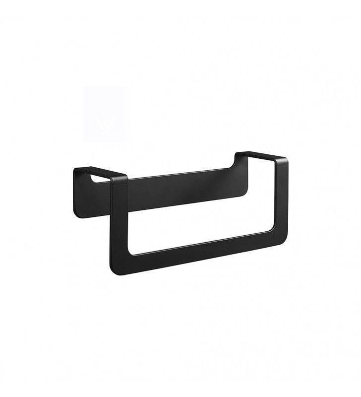 Porta salviette ad anello nero serie skyline - fissaggio biadesivo o incollo Aquasanit A202160NE