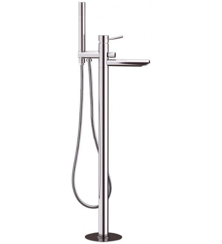 Rubinetto bordo vasca da pavimento con deviatore e kit doccia serie minimal