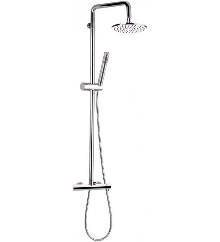 Rubinetto esterno doccia con deviatore, colonna deluxe saliscendi, soffione e doccetta serie minimal